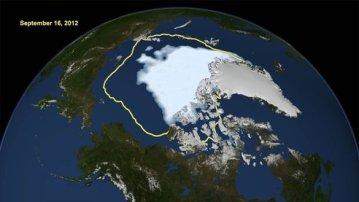 I sommer var det halvparten så mye sommeris i Arktis som det pleide å være. (Grafikk: Nasa)
