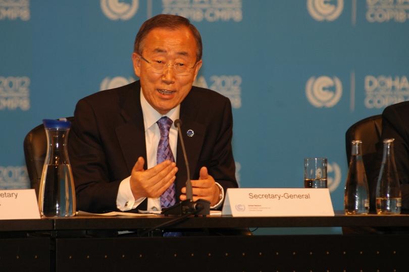 FNs generalsekretær Ban Ki Moon var uvanlig skarp da han adresserte FNs klimatoppmøte i Doha, tirsdag (Foto: Erik Martiniussen)