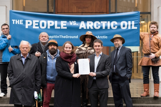An unprecedented legal case is filed against the Norwegian government for allowing oil companies to drill for new oil in the Arctic Barents Sea. The plaintiffs, Nature and Youth and Greenpeace Nordic, argue that Norway thereby violates the Paris Agreement and the people's constitutional right to a healthy and safe environment for future generations. The lawsuit has the support of a wide group of scientists, indigenous leaders, activists and public figures.  The plaintiffs and supporters are standing outside the Norwegian courthouse in Oslo with the lawsuit:  Ingrid Skjoldvær head of Nature and Youth Truls Gulowsen, head of Greenpeace Norway Audrey Siegel, First Nations artist and activist from Canada Niillas Beaska, Sámi politician  Bunna Lawrie, aboriginal medicine man from Australia  Ivan Ivanov, blogger and activist from the Komi Republic, Russia James Hansen, Climate Scientist and professor  Jostein Gaarder,  Philosopher and author of Sophie's World Pål Lorentzen, Norwegian supreme court lawyer